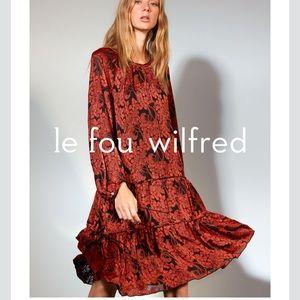 Aritzia Floral Long Sleeve Dress Burnt Orange L